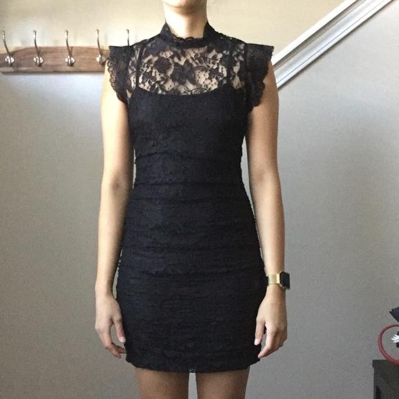 Forever 21 Mock Neck Black Lace Dress